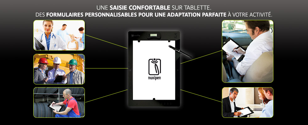 Saisie sur tablette porte document.